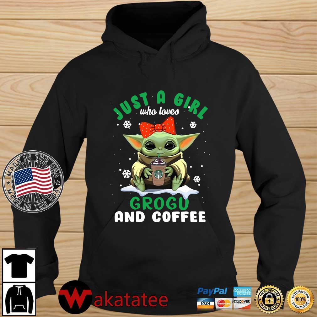 Baby Yoda hug Starbucks just a girl who loves grogu and coffee s Wakatatee hoodie den