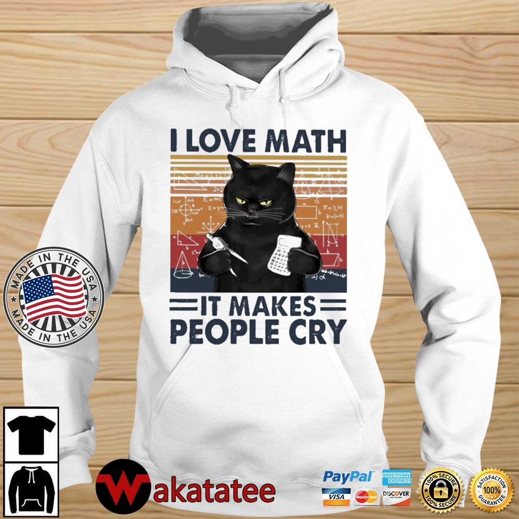 Black cat I love math it makes people cry vintage s Wakatatee hoodie trang