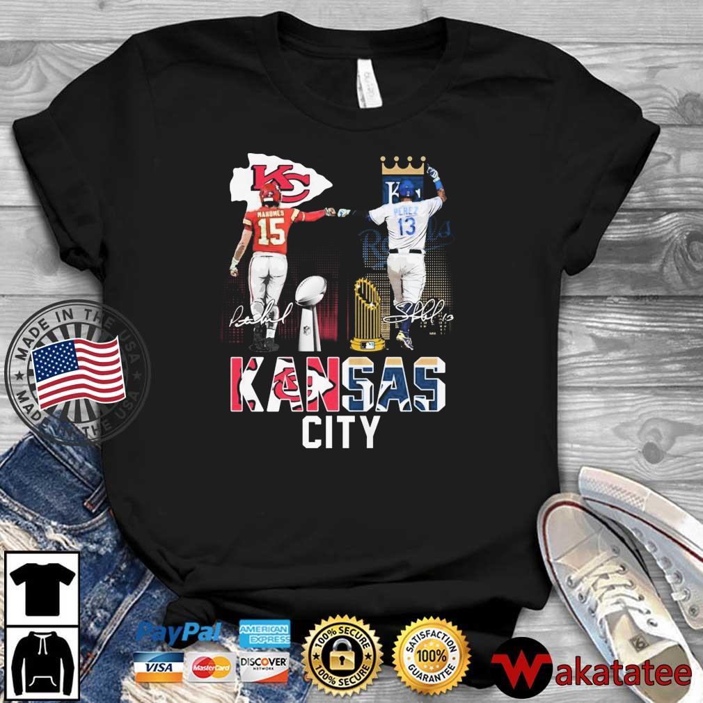 Kansas City Chiefs Mahomes Kansas City Royals Perez signatures shirt
