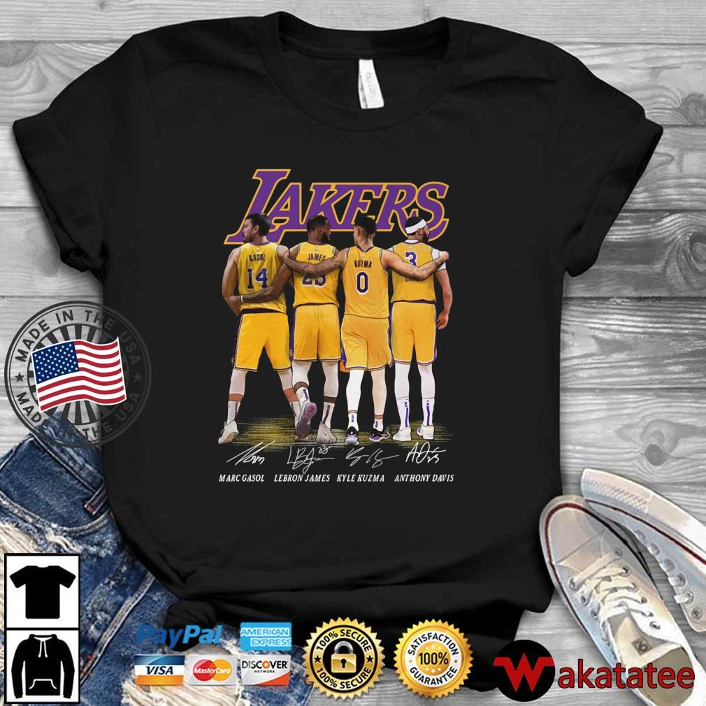 Los Angeles Lakers Marc Gasol Lebron James Kyle Kuzma Anthony Davis signatures shirt
