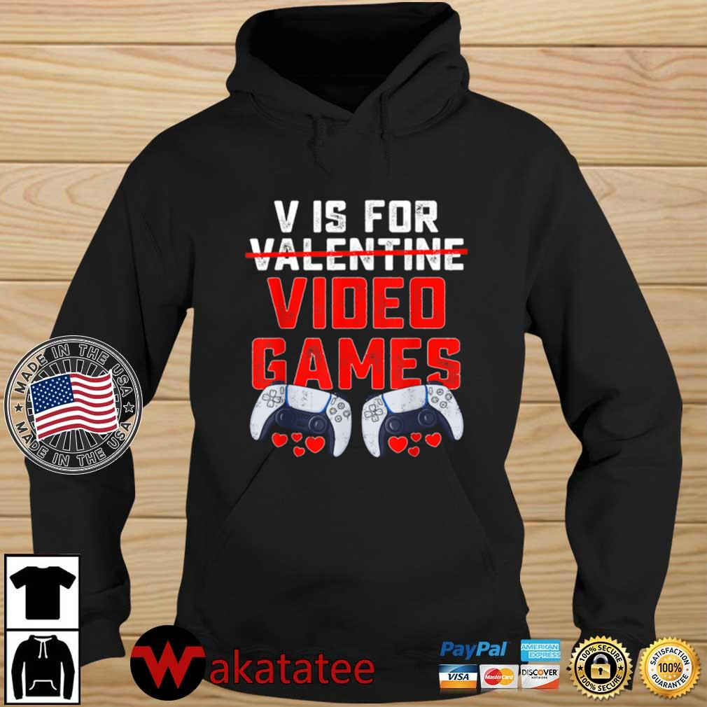 V Is For Video Games Valentines Day Boys s Wakatatee hoodie den