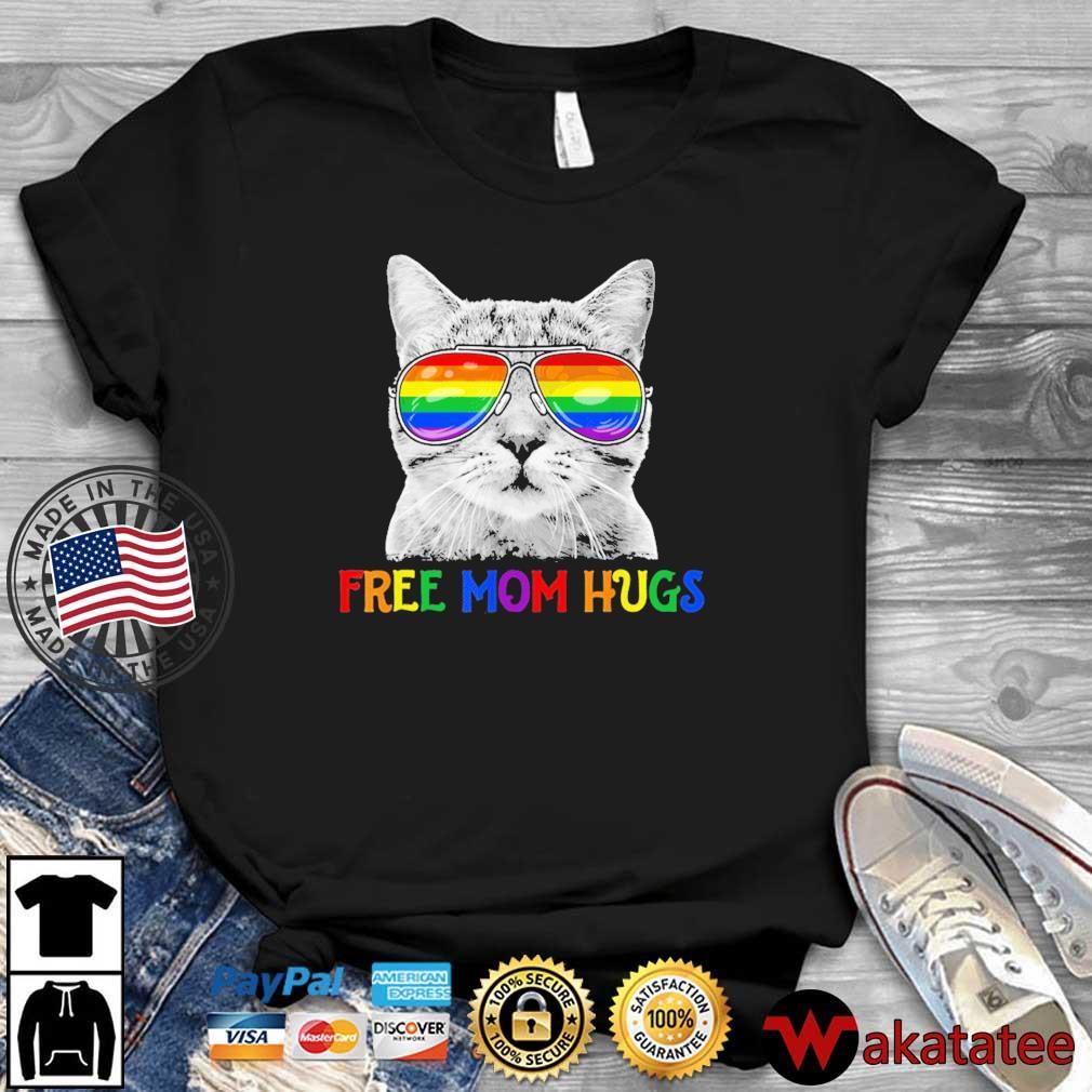 Free Mom Hugs Pride Proud Ally Cat Rainbow Flag LGBT Shirt