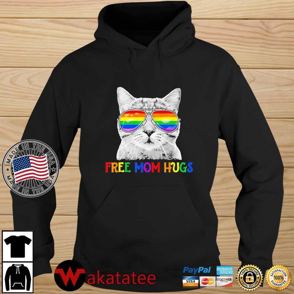Free Mom Hugs Pride Proud Ally Cat Rainbow Flag LGBT Shirt Wakatatee hoodie den