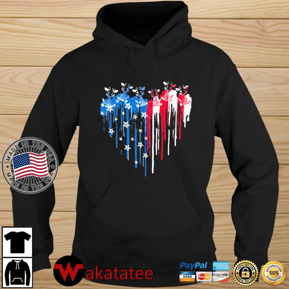 Giraffe heart American flag 4th Of July s Wakatatee hoodie den