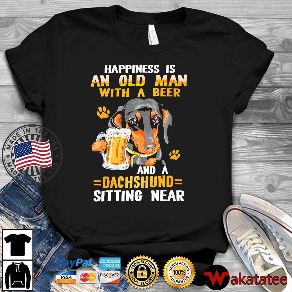 Happiness is an old man with beer and a dachshund sitting near shirt