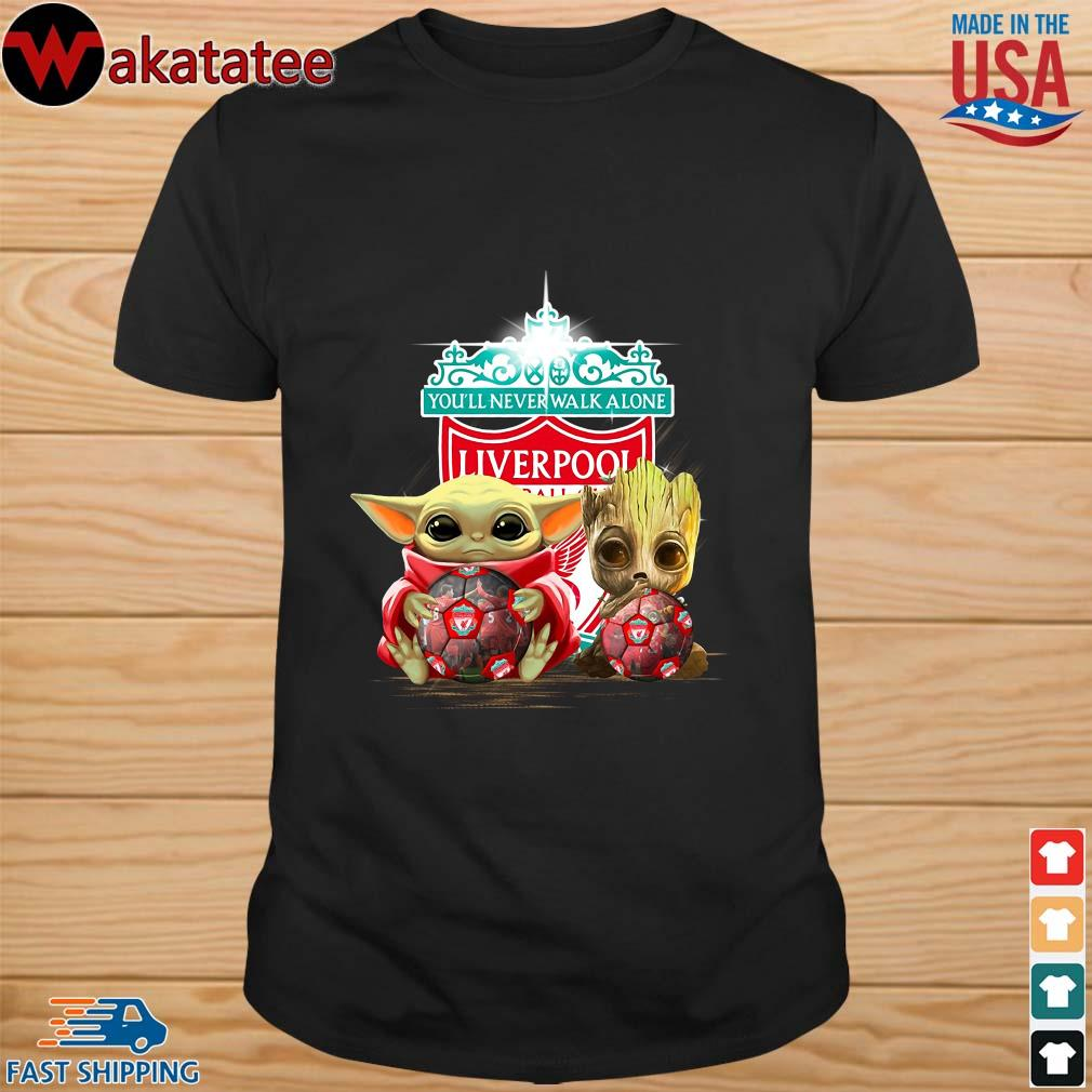 Baby Yoda And Baby Groot Hug Football Liverpool Shirt