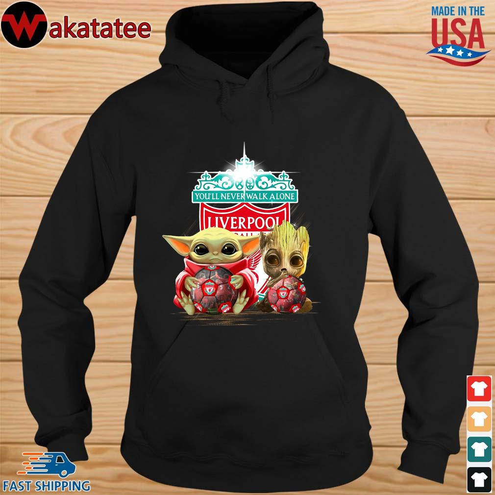 Baby Yoda And Baby Groot Hug Football Liverpool Shirt hoodie den