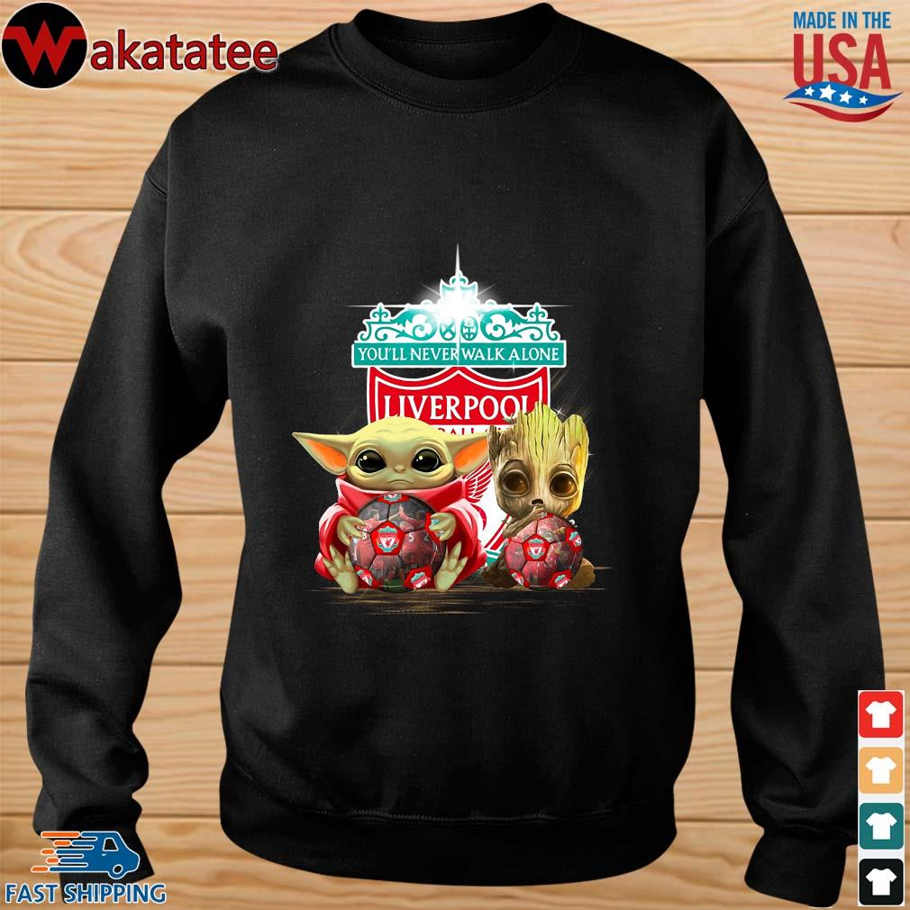 Baby Yoda And Baby Groot Hug Football Liverpool Shirt sweater den
