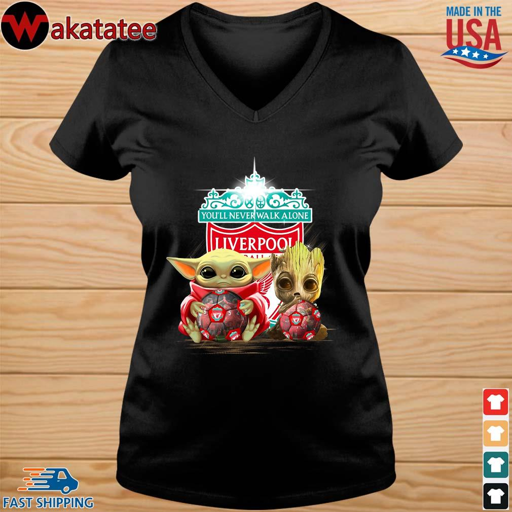 Baby Yoda And Baby Groot Hug Football Liverpool Shirt vneck den