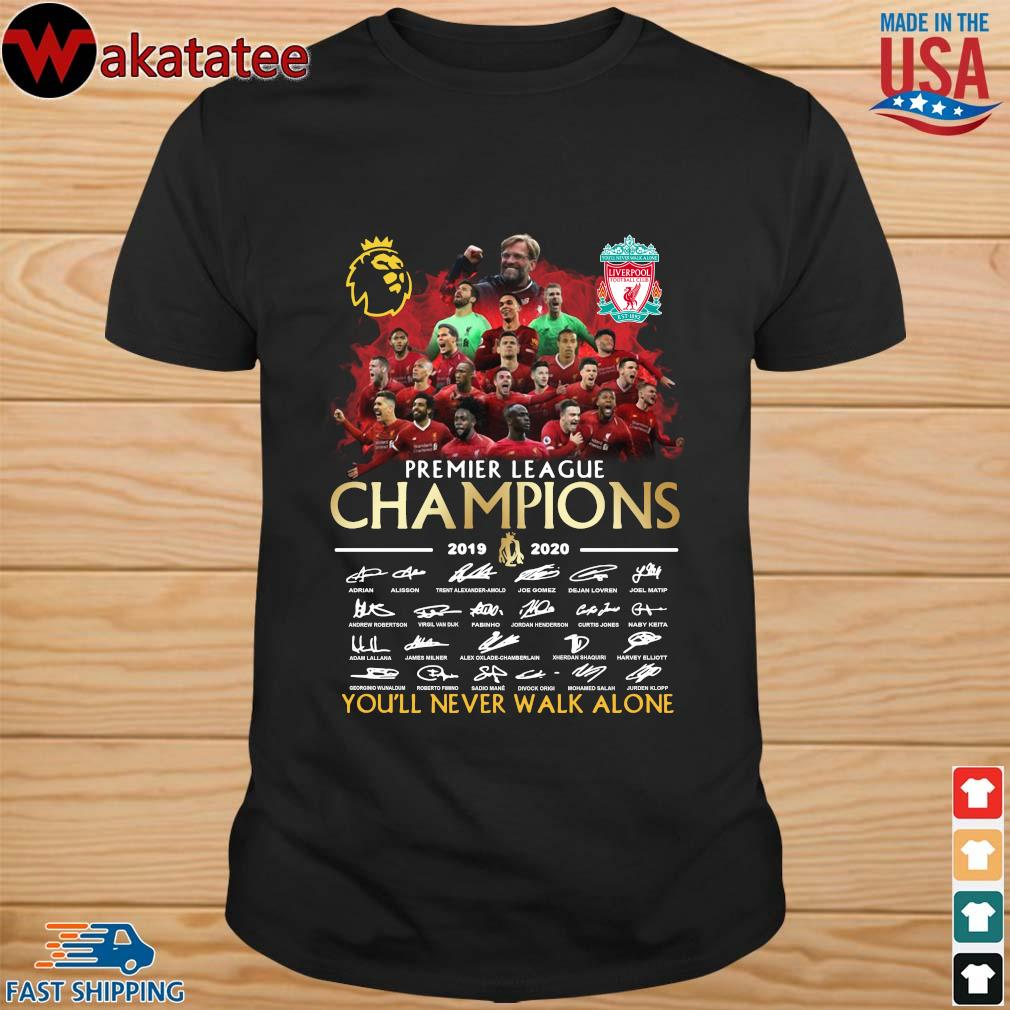 Liverpool Premier League Champions 2019-2020 You'll Never Walk Alone Signatires Shirt