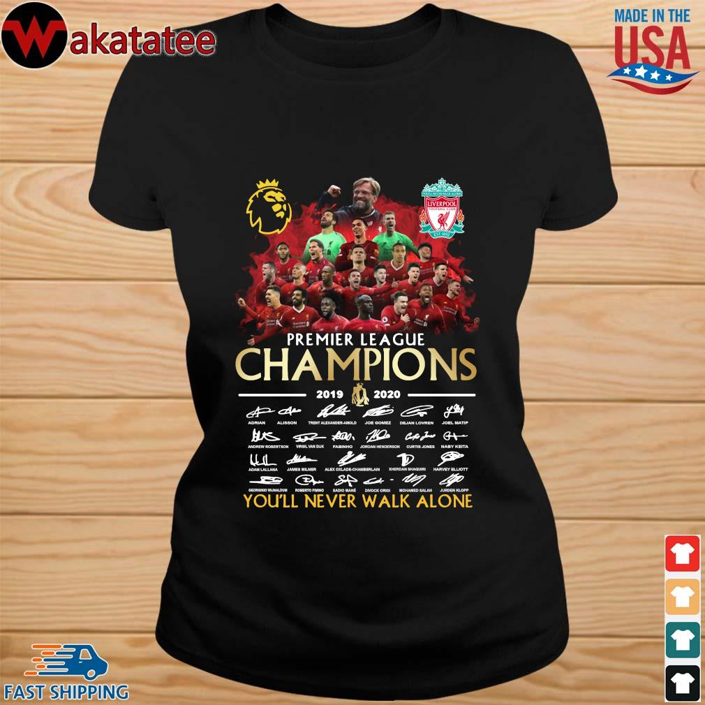 Liverpool Premier League Champions 2019-2020 You'll Never Walk Alone Signatires Shirt ladies den