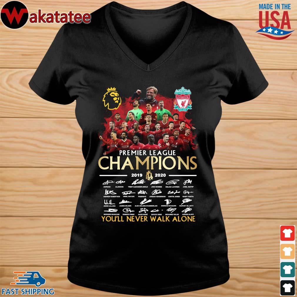 Liverpool Premier League Champions 2019-2020 You'll Never Walk Alone Signatires Shirt vneck den