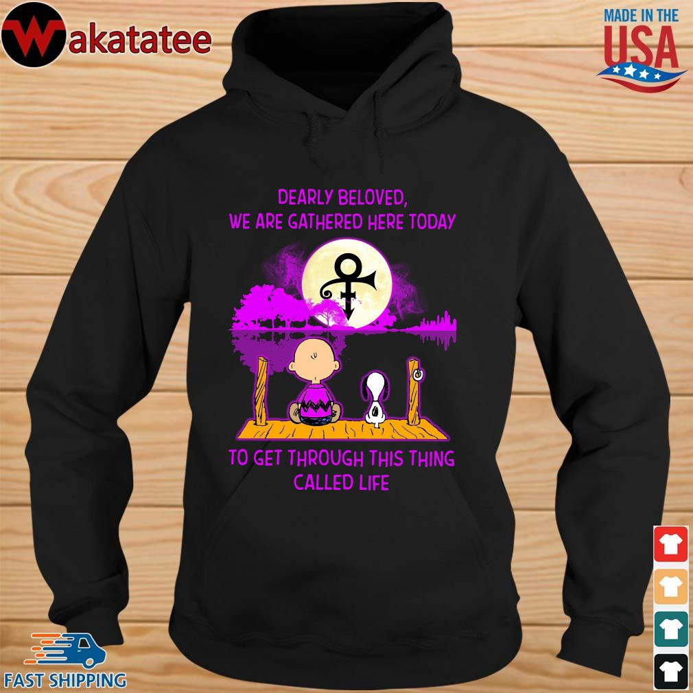 Snoopy and charlie brown dearly beloved we are gathered here today to get through this thing called life guitar shirt (1) hoodie den
