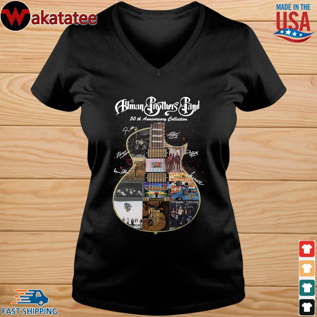 The Allman Brothers Band 50th Anniversary Collection Guitar Signature Shirt vneck den