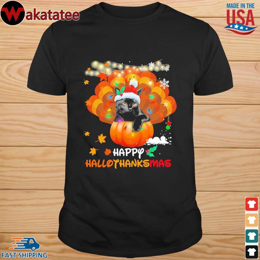 Black cat Happy Hallothanksmas shirt