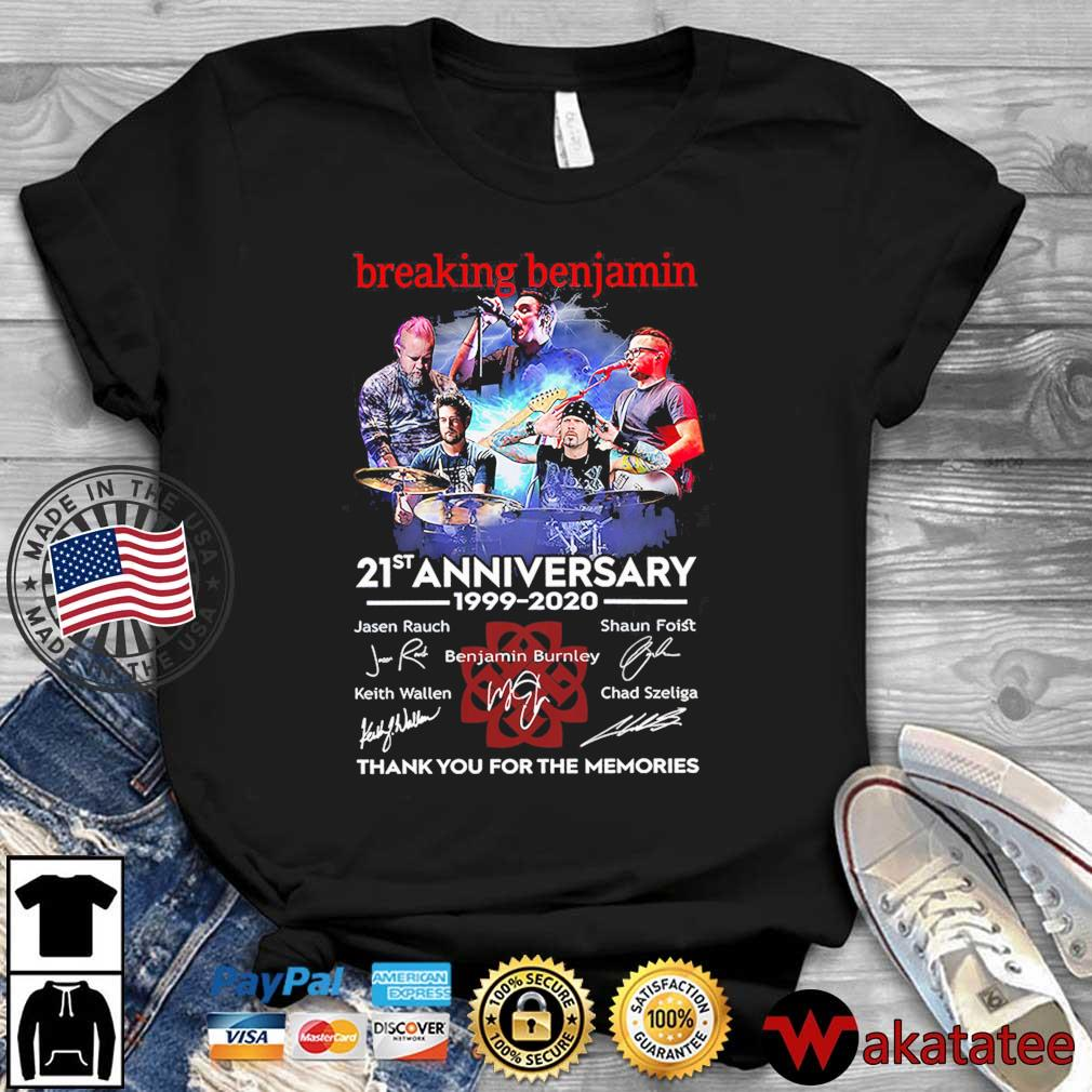 Breaking Benjamin 21st anniversary 1999-2020 thank you for the memories signatures shirt