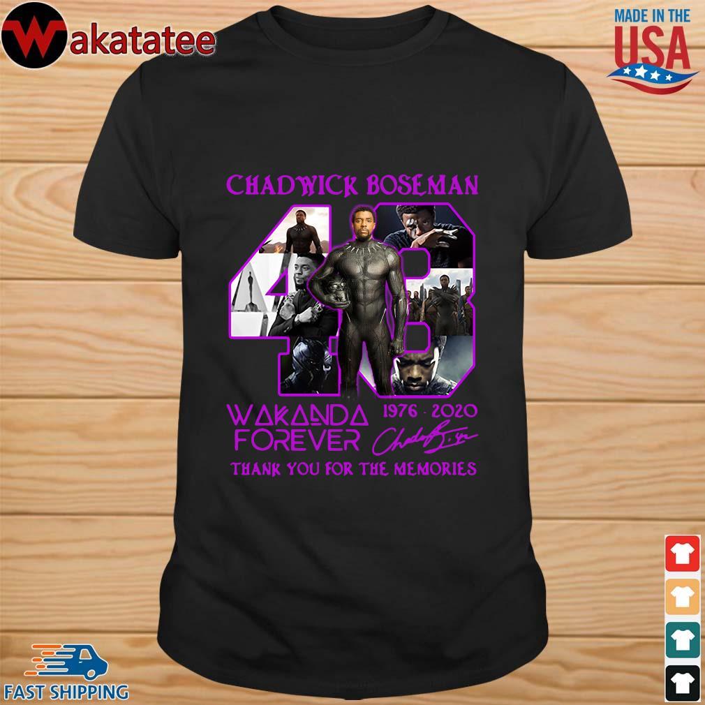 Chadwick Boseman 43 Wakanda forever 1976-2020 signature thank you for the memories shirt