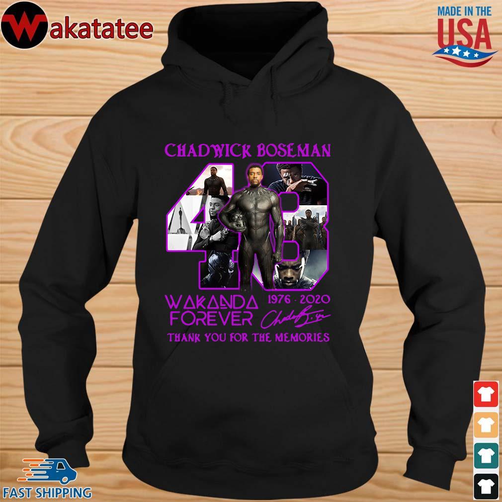 Chadwick Boseman 43 Wakanda forever 1976-2020 signature thank you for the memories s hoodie den