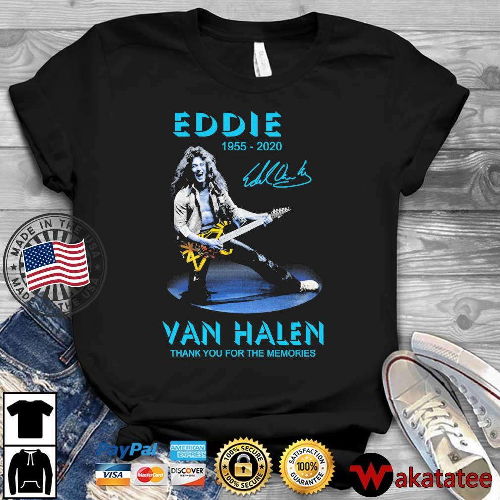 Eddie Van Halen Rock and Roll 1955-2020 thank you for the memories signature blue shirt