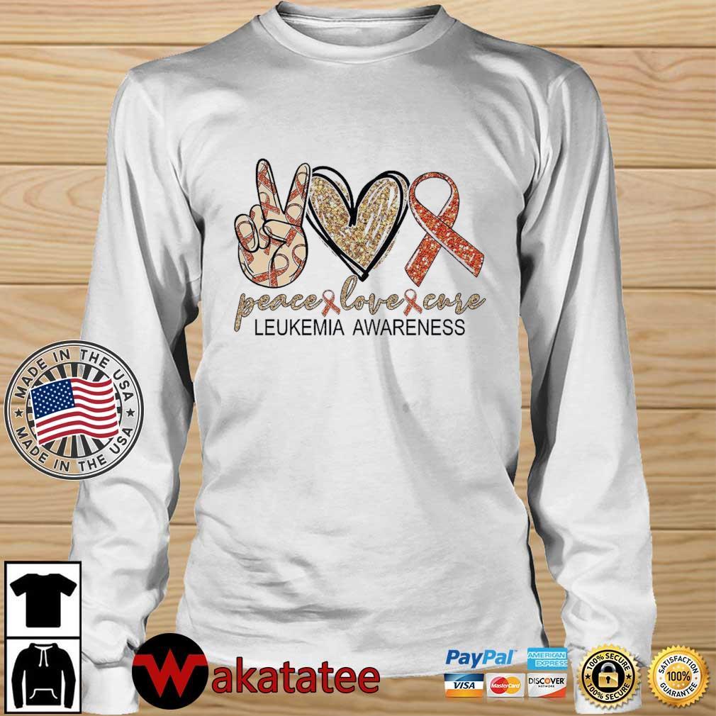 Peace Love Cure leukemia awareness Diamond s Wakatatee longsleeve trang