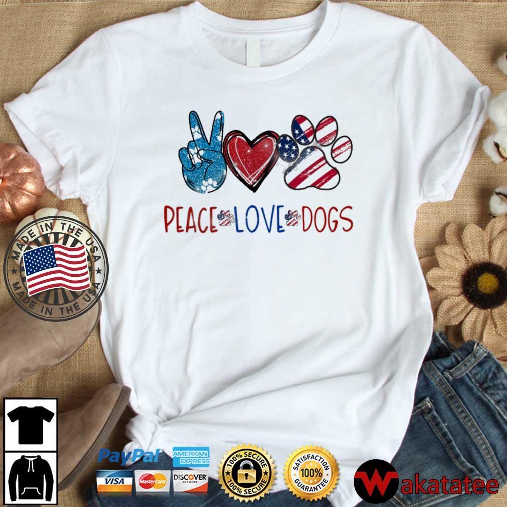 Peace Love Dogs American flag Diamond shirt