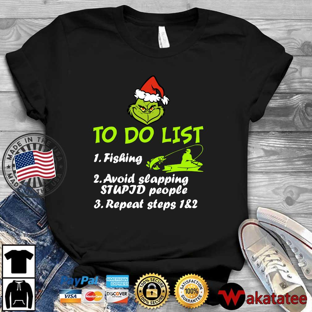 Santa Grinch to do list fishing avoid slapping stupid people repeat steps 1 and 2 sweater Wakatatee dai dien